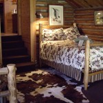room in cabin with two beds