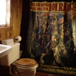 bathroom with wild west shower curtain