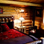 cabin interior, bed and fireplace